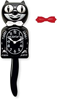 Kit-Cat Klock Classic Black Clock with White and Red Bow Ties