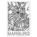 artboxONE Poster 30x20 cm Städte Retro Map of Marburg