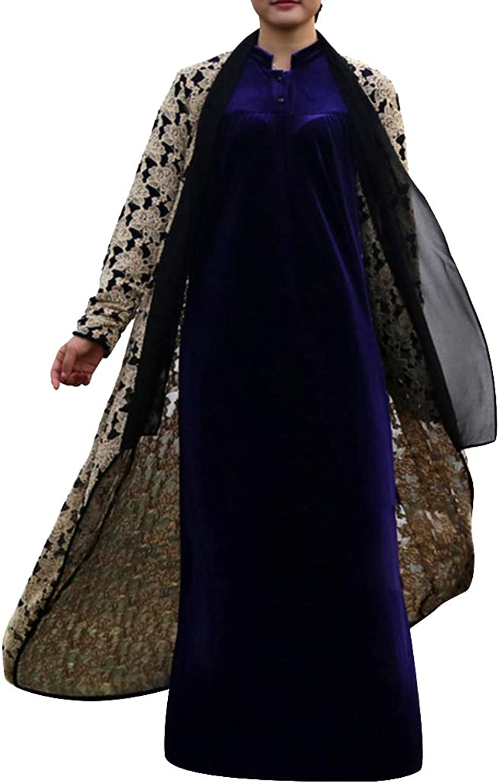 Ethnic Floral Lace Sheer Cardigan Open Up Floor Length Women's Arab Coat