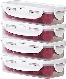 Ensemble de 4, conteneurs alimentaires plastique hermétique avec couvercle, organisateurs de stockage de cuisine transpare...