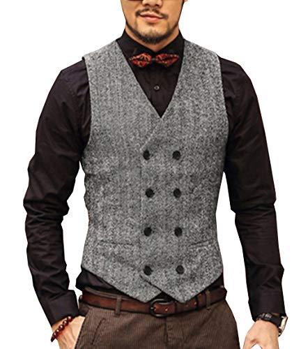 HSLS Chaleco de traje de ajuste regular para hombre Chaleco de tweed de lana con doble botonadura para novios de boda(XXXL, Plata)