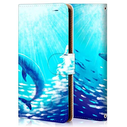 かんたんスマホ2 スマホケース 手帳型 カメラ穴 スタンド機能 カード収納 耐衝撃 高級PUレザー 全面保護 軽量 オリジナルなデザイン オーダーメイド 多機種対応 WX002-海の鯨 アニマル かわいい 11769