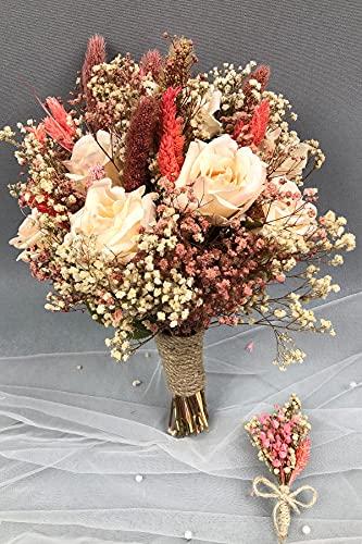 Hayalperest Lachs getrocknete Blume Brautstrauß und Kragen Blumenbraut, Hochzeit, Brautblume, Hand Blume, Zeremonie, Blume