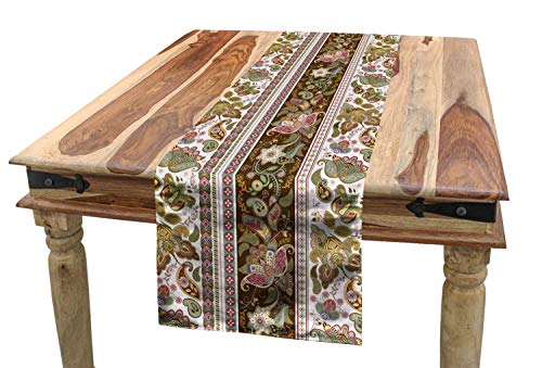 ABAKUHAUS Oriënteren Tafelloper, Perzisch bloemmotief, Eetkamer Keuken Rechthoekige Loper, 40 x 300 cm, Veelkleurig