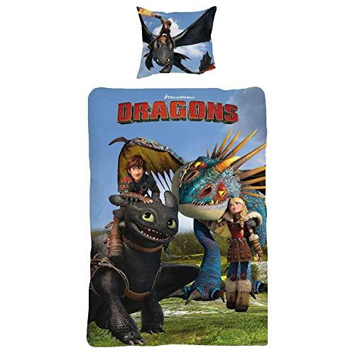 Dragons Bettwäsche glatt Drachen Hicks Ohnezahn 135 x 200 cm Geschenk NEU - All-In-One-Outlet-24 -