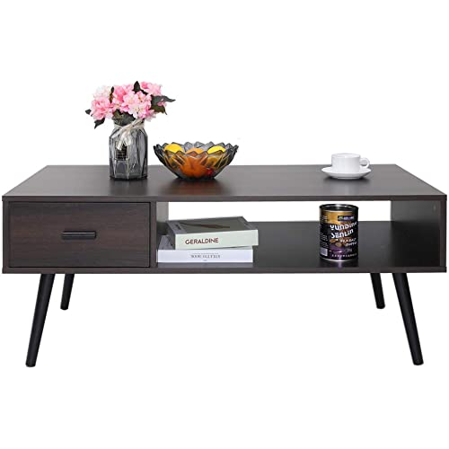 Amazon Com Iwell Mid Century Coffee Table With Drawer And Storage Shelf For Living Room Cocktail Table Tv Table Rectangular Sofa Table Office Table Solid Elegant Functional Table Easy Assembly Dark Walnut Kitchen