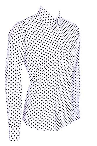 Camisa clásica de algodón con Botones de Manga Larga y Lunares Blancos y Negros para Hombre Blanco En Blanco Y Negro M 97/102 cm