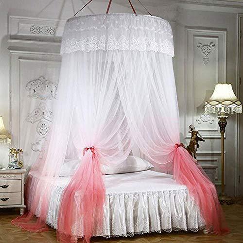 Yenisai Moskitonetz Doppelbett Einzelbett mit Geschenk LED-Leuchten Groß Mückennetz, Spitze Elegant für Schlafzimmer, Camping oder geben Sie es an Freunde und Familie-Orange