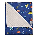 Baby Blanket for Boys, Soft Plush with Double Layer Dotted Backing, Newborn Receiving Blanket Infant Sleep Blanket(Space,30'x34')