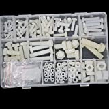 White Nylon Hex Bolt Metric Thread Plastic Hexagon Machine Screw Nut Washer Assortment Kit 226pcs M4 M5 M6 M8 M10