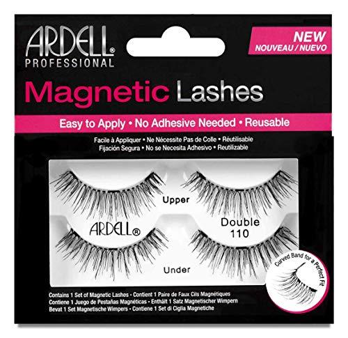 ARDELL Professional Magnetic Strip Lashes Double 110, 1 Paar magnetische Wimpern mit einem magnetischen Wimpernband, magnetischen Applikator (ohne Klebstoff), wiederverwendbar
