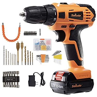 SOLUDE Cordless Drill Driver,12V Max 100-Piece Power Drill Set with 2x1500mAh Lithium-Ion Batteries,3/8 Inch Keyless Chuck,Variable Speed,18+1 Torque Setting