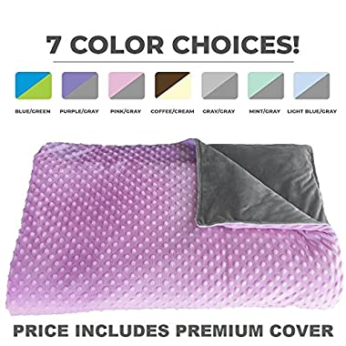 Premium Weighted Blanket, Perfect Size 60  x 80  and Weight (12lb) for Adults and Children. Deluxe CALMFORTER(tm) Blanket Relieves Anxiety, Stress, Agitation, Insomnia. Price Includes Cover!