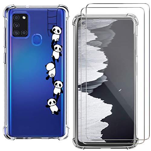 kinnter TPU Silikon Handyhülle Kompatibel mit Samsung Galaxy A21s Hülle Transparent Ultra Dünn Schutzhülle mit 2 Pack Galaxy A21s Panzerglas Screen Protector Kratzfeste Schutzfolie