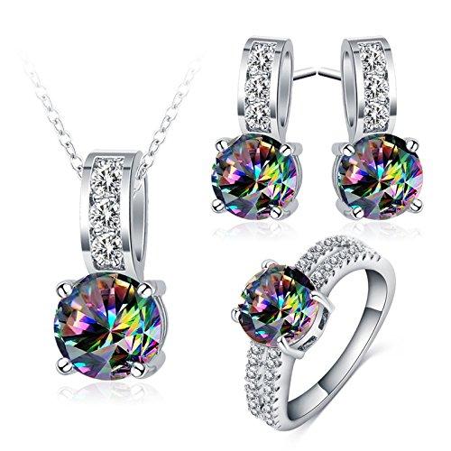 AnazoZ Schmuck Set Elegant Braut, Ohrringe Ring Halskette mit Anhänger, Bunt Zirkonia Kristallanhänger für Frau inkl. Geschenkbox Gr. 55 (17.5)