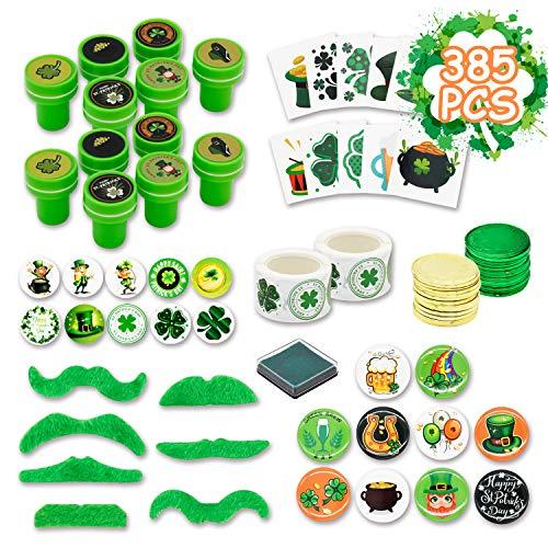 Kissdram 385Pcs St. Patrick's Day Party Favor Saint Patricks Day Irish Shamrock Toy seal,Holiday stickers,Irish gold coin,Irish Tattoos and so on.
