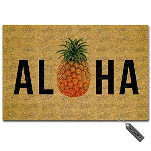 """msmr entrada Felpudo–Felpudo Aloha piña Felpudo interior y exterior para alfombra de goma Tela no tejida Top 18""""x30"""""""