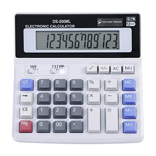 Standard Taschenrechner Schulrechner Solar und Batterie Tischrechner 12-stellig Display Bürorechner Dual Power Wirtschaftsrechner Office Finanzrechner Rechenmaschine für Büro Business