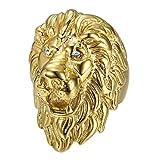 BOBIJOO Jewelry - Enorme Lourd Bague Chevalière Homme Tête de Lion Voyageur Or PVD Yeux Diamants - 66 (11 US), Doré Or Fin - Acier Inoxydable 316