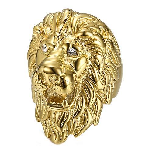 BOBIJOO JEWELRY - Enorme Pesado Anillo Anillo Anillo de Hombre de Cabeza de León Viajero PVD de Oro los Ojos de Diamantes - 19 (9 US), Dorado - Acero Inoxidable 316