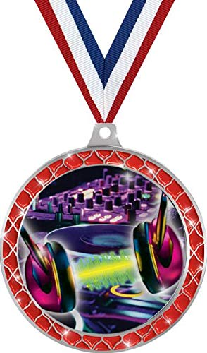 Buy Bargain DJ Turn Tables Red Trellis Medal Silver, 2.5 DJ Music Prizes, Kids DJ Trophy Medal Awar...