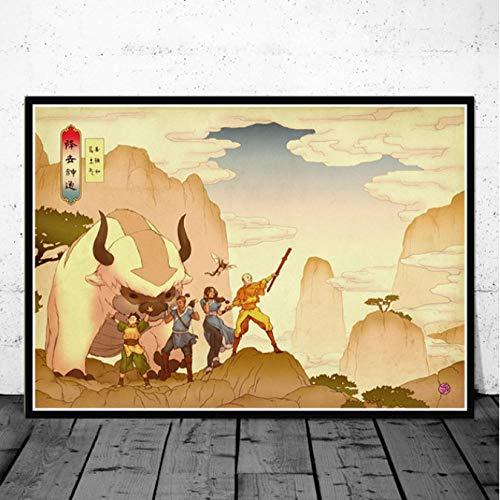 Jryuplzs Avatar Le dernier maître de l'air Aang Lutte Anime Art Affiche Toile Peinture Mur Photo pour la décoration intérieure Affiches et Impressions 40x60 cm sans Cadre