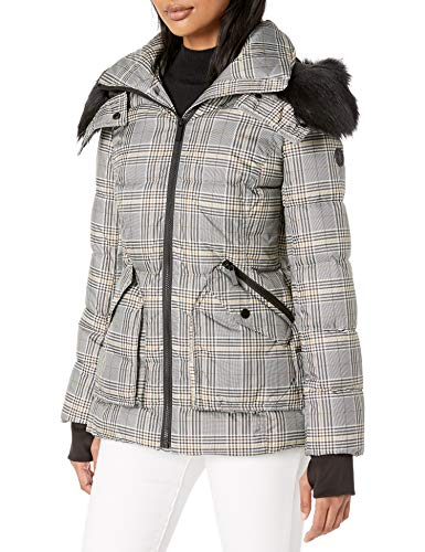 French Connection Women's Faux-Fur Trim Menswear Statement Puffer, Khaki Multi Plaid, Medium