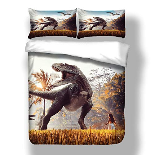 LULU Bedding Set Duvet Cover Set 3D Printed Prehistoric Dinosaur Pattern 3 Piece Pillowcases Fiber Quilt Cover (Color : C, Size : Single(135 * 200cm))