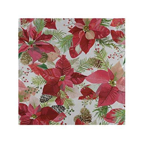 HYTCSY Cloth Dinner Napkins Red Flower Poinsettia Dinner Napkins Cloth Washable 20 X 20 Inch for Family Dinners,Weddings,Cocktail,Kitchen Tableware Decoration