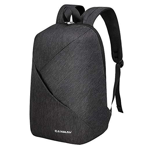 CANWAY Travel School Backpack, College Bookbag Laptop Backpack 15.6 Inch lightweight,Commuter Bag Casual Hiking Daypack Water Resistant for Women & Men (Black)