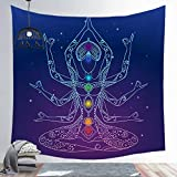 N / A India Buddha Statue Meditation 7 Chakra Tapestry Wall Mount Mandala Tapestry Wall Cloth Home Decoration A4 150x150cm