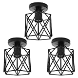 shamoluotuo Semi-Flush Mount Ceiling Light with E27 Bulb Retro 1-Light Black Industrial Metal Cage Small Ceiling Light Fixture for Porch Hallway Kitchen Farmhouse Lighting (Black, 3PCS)