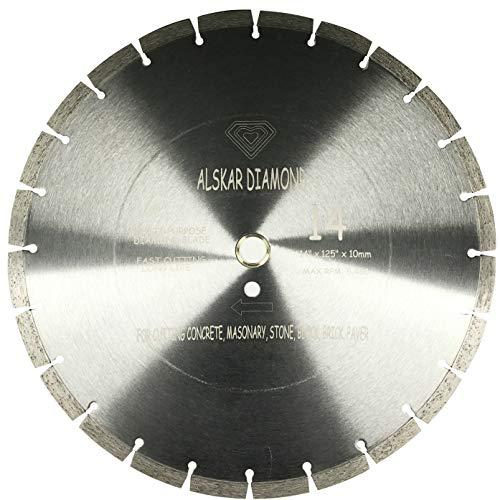 ALSKAR DIAMOND USA ADLSS 14 inch Dry or Wet Cutting General Purpose Segmented High Speed Diamond Saw Blades for Concrete Stone Brick Masonry (14