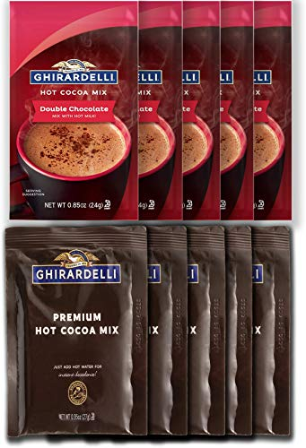 Ghirardelli Variety 5 Double Chocolate & 5 Premium Hot Cocoa Mix 10 Pack