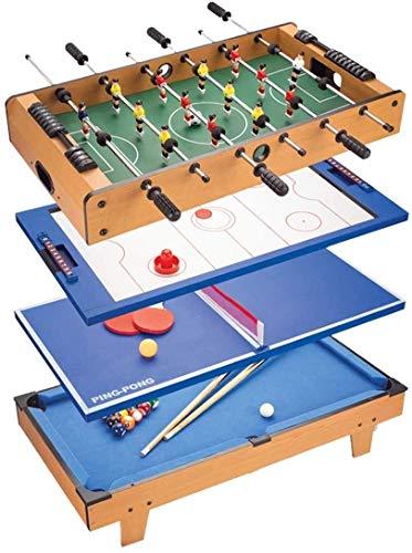 AJH Billard 4-in-1 Kombination Multi Game Tisch mit Tischfußball, Eishockey, Tischtennis, für Erwachsene und Kinder Tischfußball, Familienspielparty