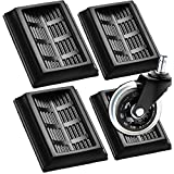 Bed Stopper & Furniture Stopper Cups,YUESUO Stopper for All Wheels of Furniture, Premium Silicone Rubber Caster Cups,Can Prevent The Floor from Scratching & Wheeled Furniture Slides (4 Pack(Black))