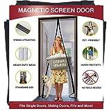 YUFER Magnetic Screen Door 36×82 Reinforced Fiberglass Mesh Curtain Entry Door Screen with Full Frame Hook&Loop - Fits Door Size up to 36''x82'' Max,Grey