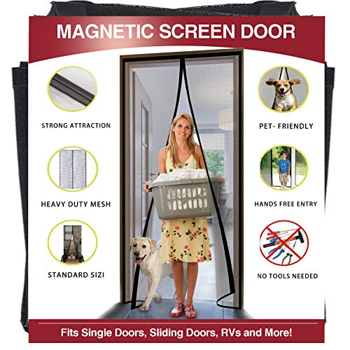 YUFER Magnetic Screen Door 36×96 Inch Reinforced Fiberglass Mesh Curtain Patio Door Screen Full Frame with Hook&Loop - Fits Door Size up to 36''x96'' Max