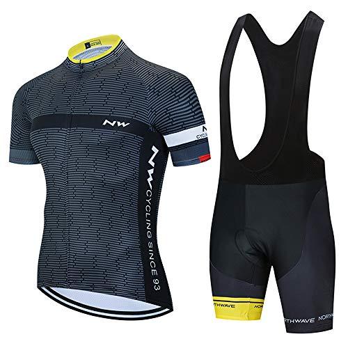 ADKE Abbigliamento Sportivo da Bici Uomo, Camicia da Ciclismo Maniche Corte e Pantaloncini Corti Bicicletta con 3D Gel Imbottiti (XXXXL, NEW3-BK)