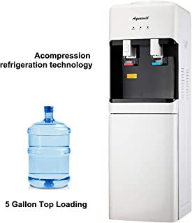 AQUAWELL Water Dispenser, 5 Gallon Top Loading Hot & Cold Water Dispenser, Freestanding with Storage Cabinet, Compression Refrigeration Technology, Stainless Steel White