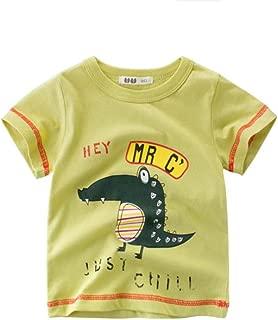 Summer Children's New Crocodile Cartoon Pattern Round Neck Short-Sleeved T-Shirt Yellow-Green