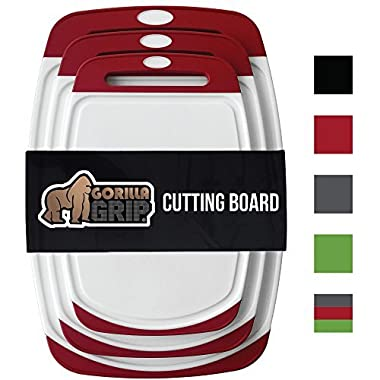 GORILLA GRIP Original Reversible Cutting Board (3-Piece Set) for Kitchen, BPA Free, Easy Grip Handle, Dishwasher Safe, Non-Porous, Boards are Extra Large and Thick, Juice Grooves (Set of Three: Red)