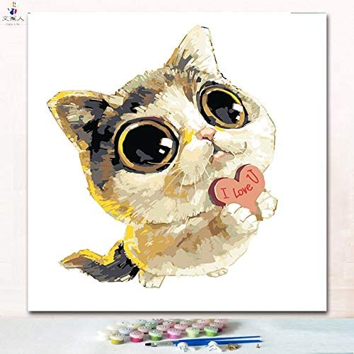 KYKDY Schneiden Sie Tierarzt Cat digitales  em e F ung Zahlen Bilder nach Zahlen auf Leinwand mit Farben für Kinder prac, 7138 Katze17,50x50 kein Rahmen