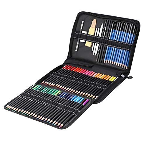 Pssopp Lápiz de Color de 95 Piezas, lápiz de Dibujo Profesional, lápiz de Grafito, lápiz de carbón, Borrador, Herramientas de diseño