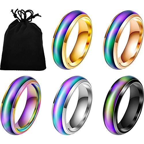 5 Stück Edelstahl Farbwechsel Stimmungsring Unisex Temperatur Emotion Ring