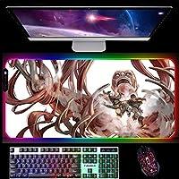 RGBゲーミングマウスパッド進撃の巨人ゲーミングマウスパッドLED光るマウスパッドPCデスクマット用滑り止めラバーベース900x400x4mmB