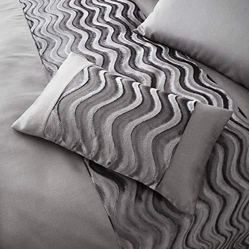 Happy Linen Company Crushed Velvet Wave Effect Panel Slate Grey Boudoir Cushion