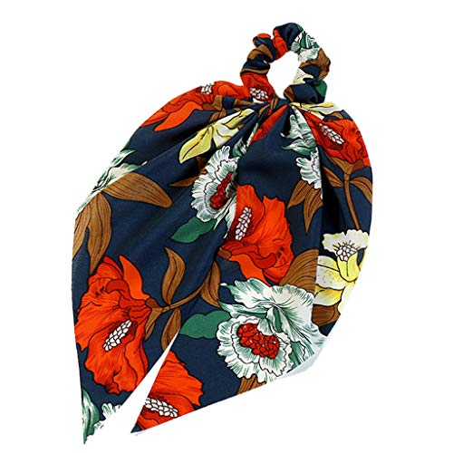 niumanery 2In1 Butterfly Bowknot Hair Scrunchies Faux Silk Scarf Hair Tie Polka Dot Floral Retro Ponytail Holder Women Styling Accessories F