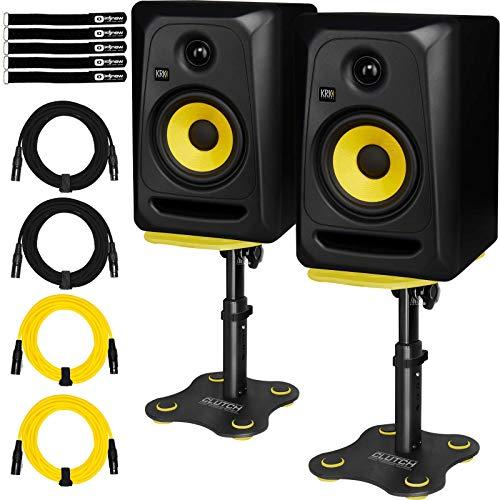 """KRK Rokit 5 CL5G3 5"""" Classic Active Studio Monitor Speaker Pair w Desktop Stands"""