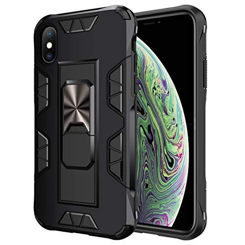 jaligel Hülle Kompatibel mit iPhone X Hülle/iPhone XS Hülle mit Ständer(Arbeiten Sie mit Magnetischer Autohalterung) iPhone X/XS Case Hard PC Back Silikon Bumper Cover Handyhülle - Schwarz